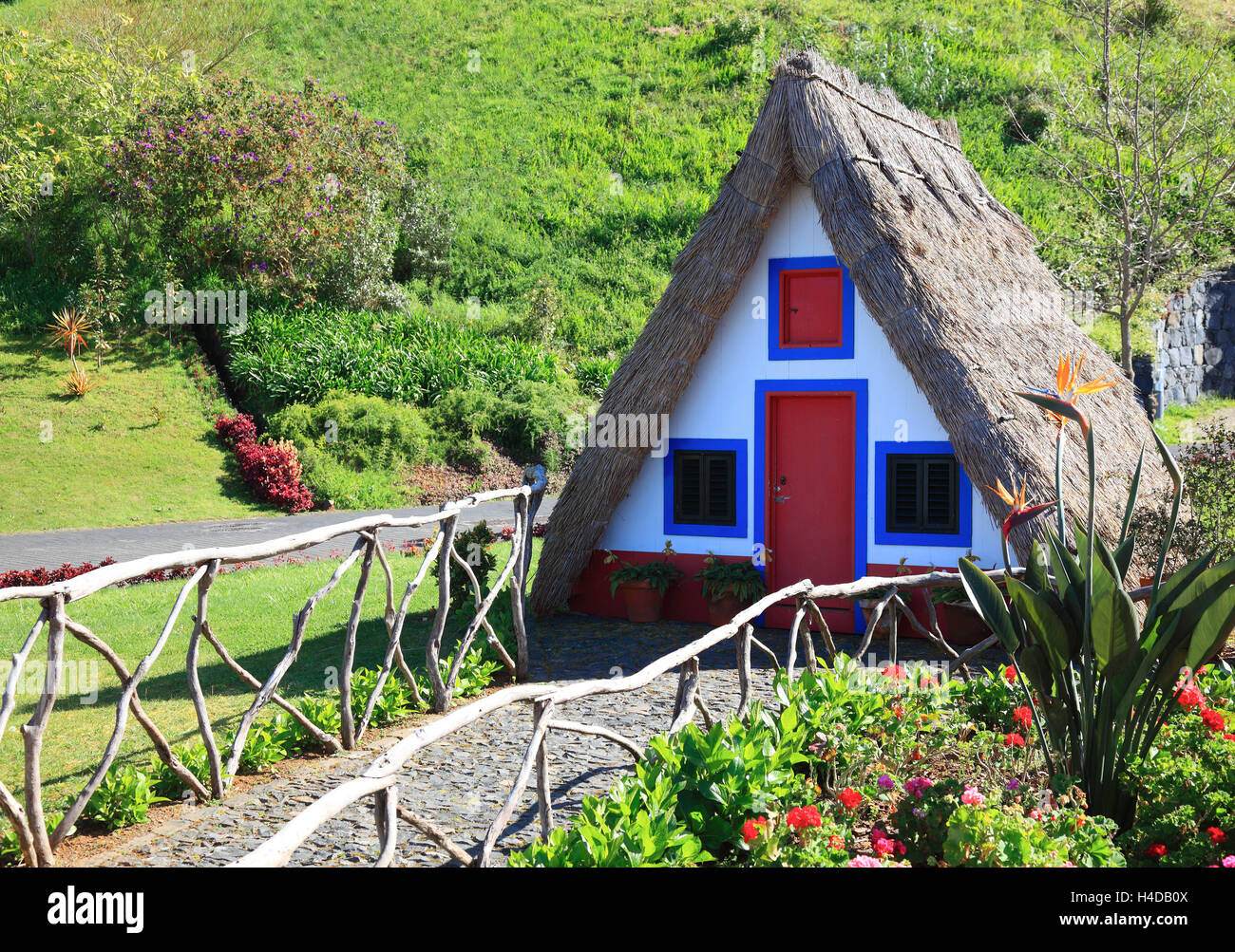 Island Madeira Santana historical small houses typical for country