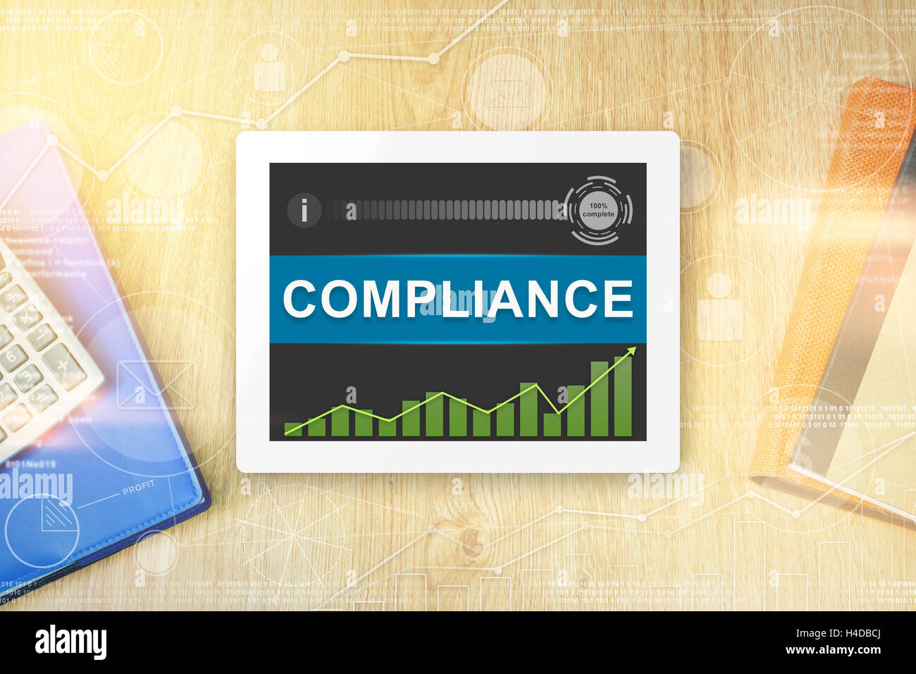 compliance word on tablet with soft light vintage effect - Stock Image