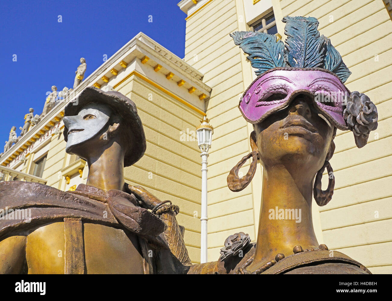 Statues at Macedonian National Theater in Skopje. - Stock Image
