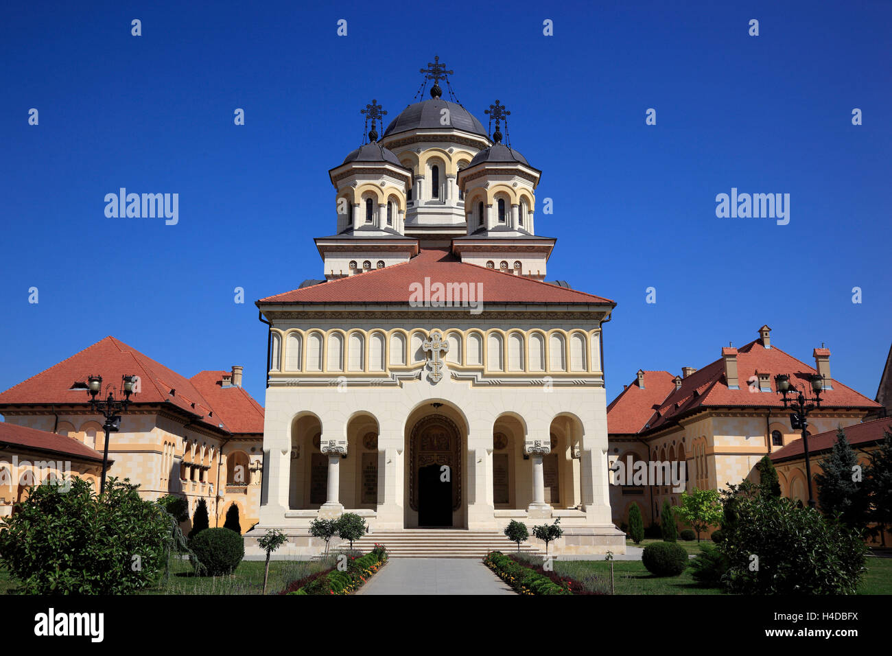 A coronation cathedral the Roumanian-orthodox church, alb Iulia, bellows radian, in German Karl's castle, is - Stock Image