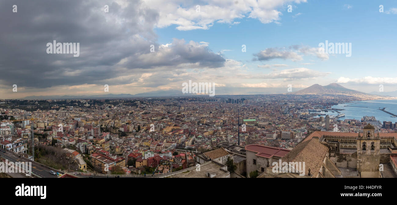 Town panorama, Naples, Italy, Kampanien, - Stock Image