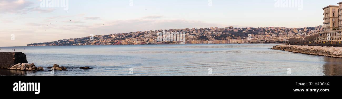 Coastal panorama Naples, Italy, Kampanien, - Stock Image