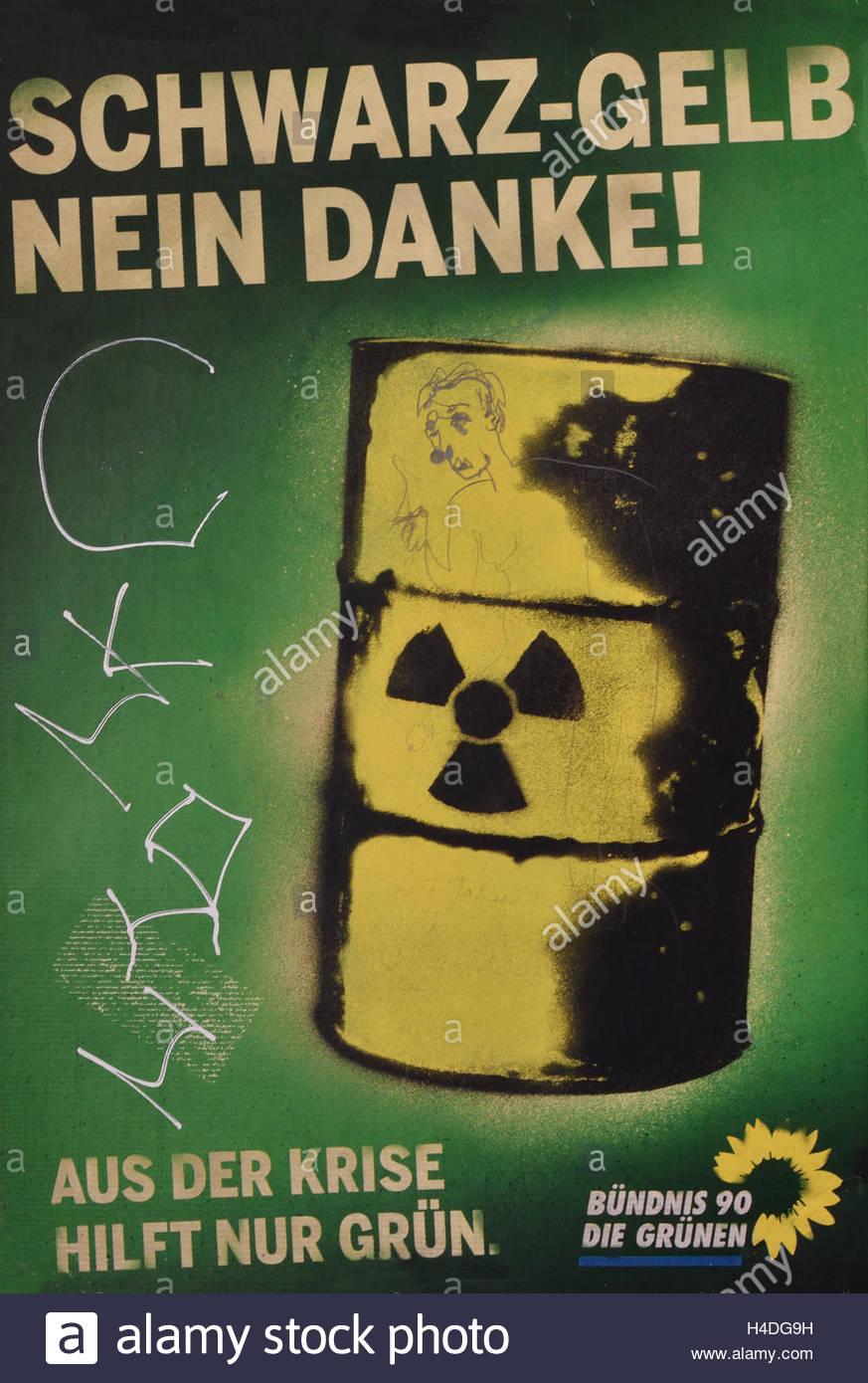 """Schwarz-Gelb nein danke"" – Themenplakat Bündnis 90/Die Grünen 2009 - 'Black-yellow no thank you' - Stock Image"