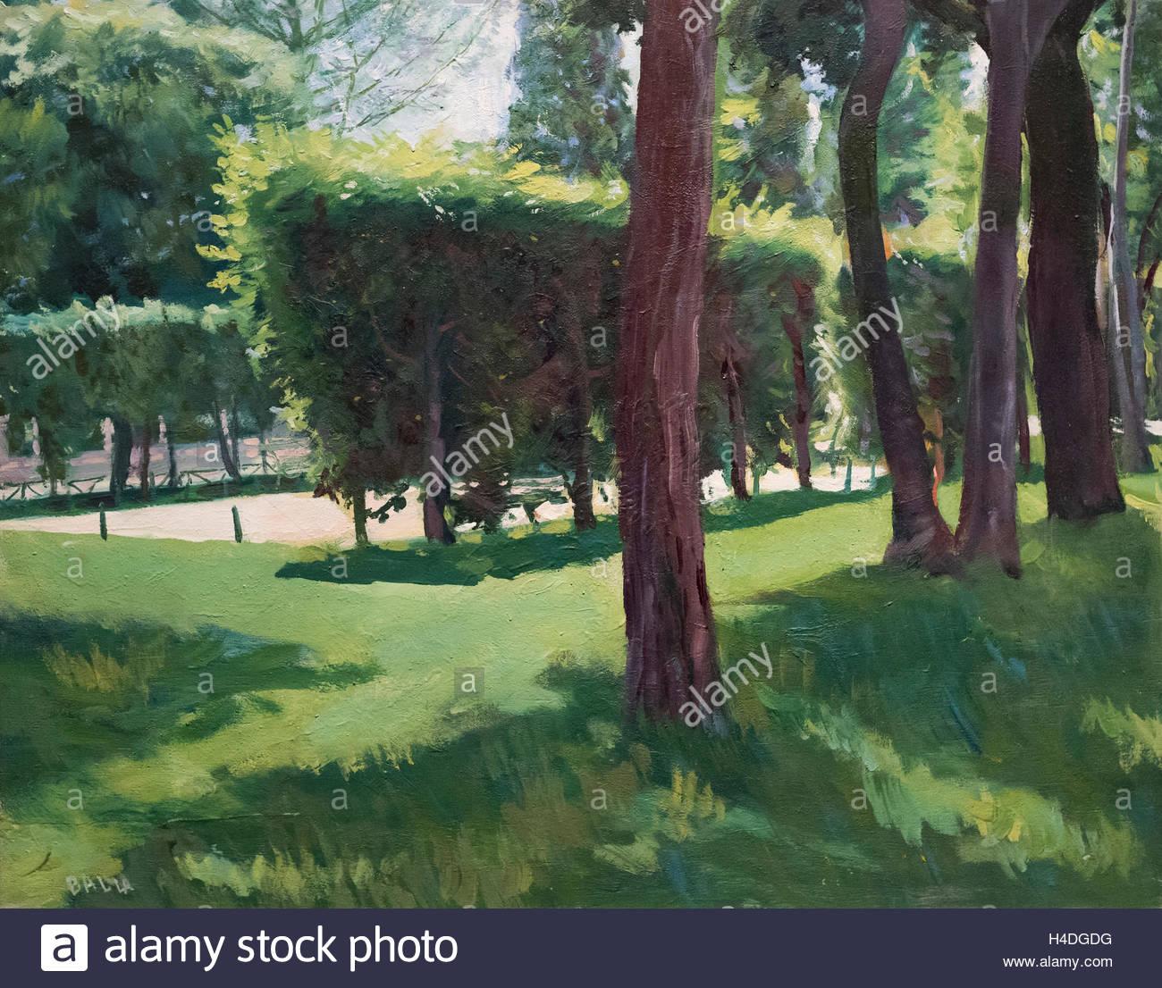 Giacomo Balla (1871-1958), Luce verde sole estivo, 1949. (Luce sul verde estivo) Green Light Summer Sun. - Stock Image