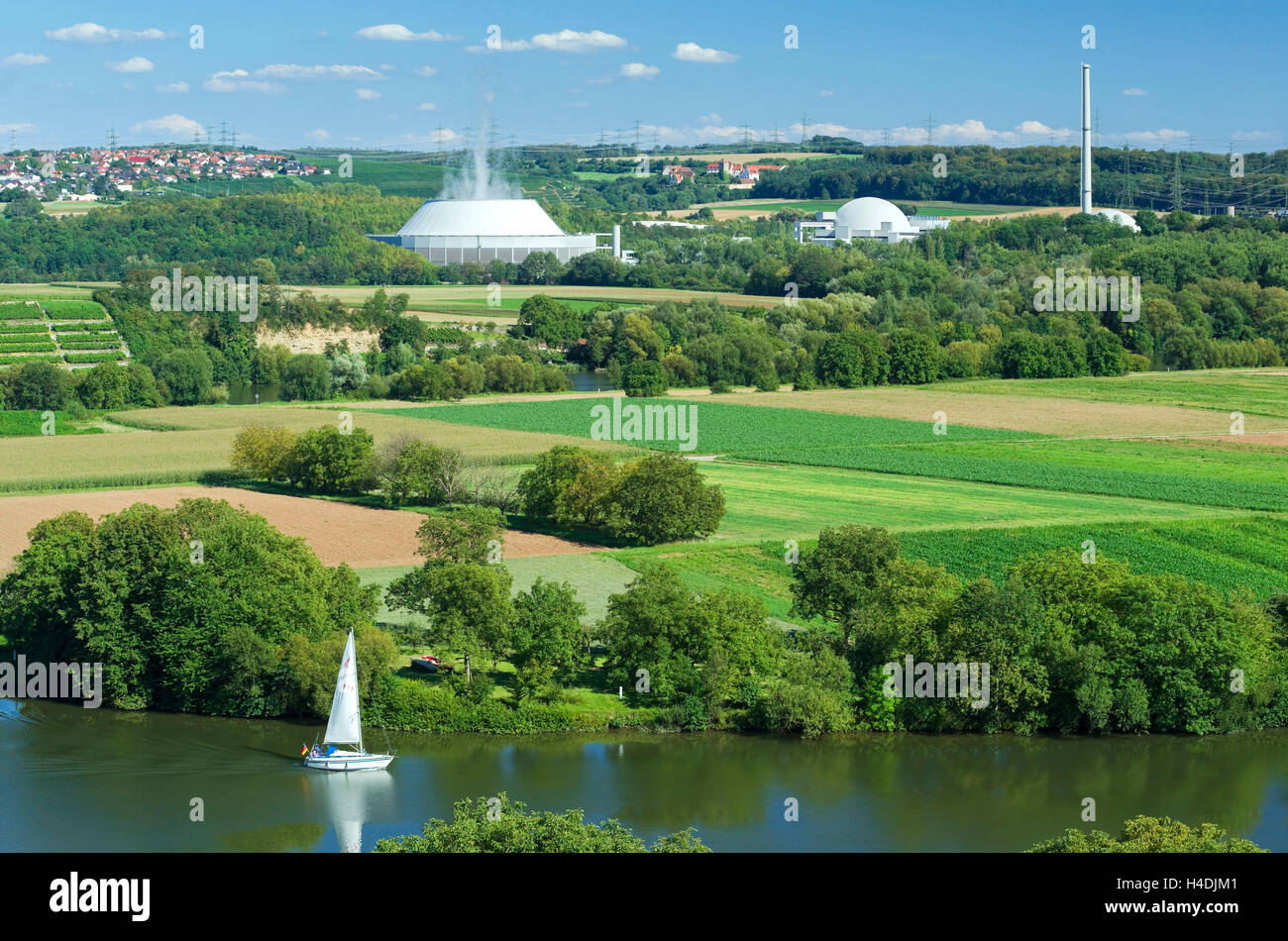 Germany, Baden-Wurttemberg, Neckar west home, nuclear power plant Neckar west home, EnBW Kernkraft GmbH, view from - Stock Image