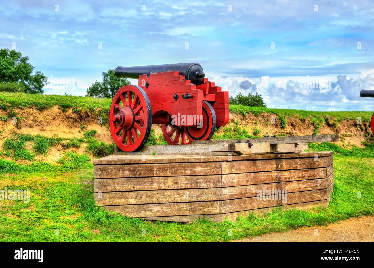 Old cannon at Kronborg Castle in Helsingor - Denmark - Stock Image