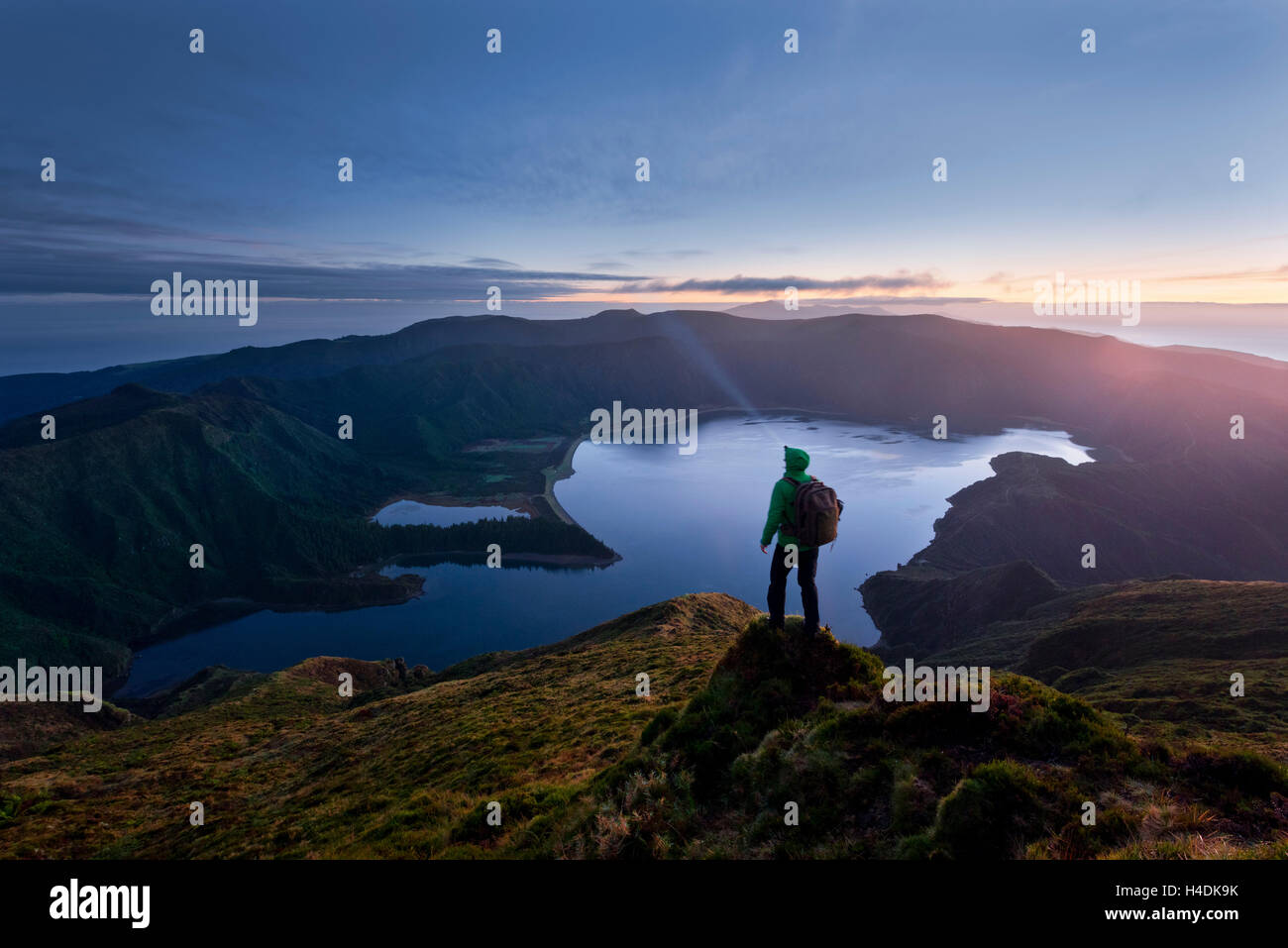 Portugal, the Azores, Sao Miguel, Lagoa Th Fogo, view, lake, crater, volcano, night, - Stock Image