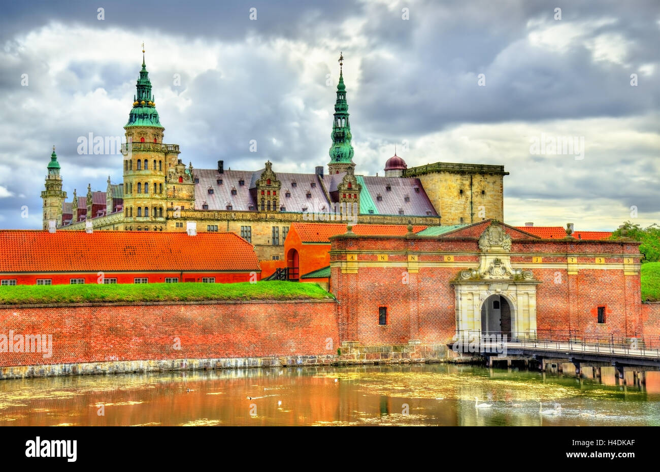 Kronborg Castle, known as Elsinore in the Tragedy of Hamlet - Helsingor, Denmark - Stock Image