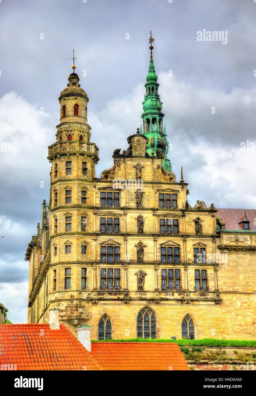 Kronborg Castle, known as Elsinore in the Tragedy of Hamlet - Helsingor, Denmark - Stock Image