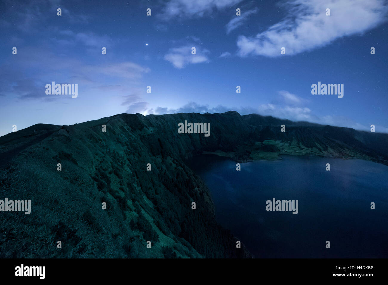 Lagoa Azul on Sao Miguel at night, the Azores, Portugal - Stock Image