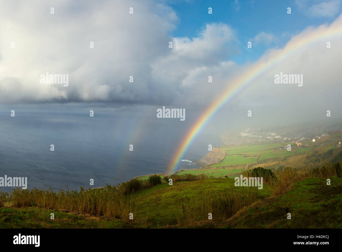 Rainbows about Feteiras, Sao Miguel, the Azores, Portugal - Stock Image