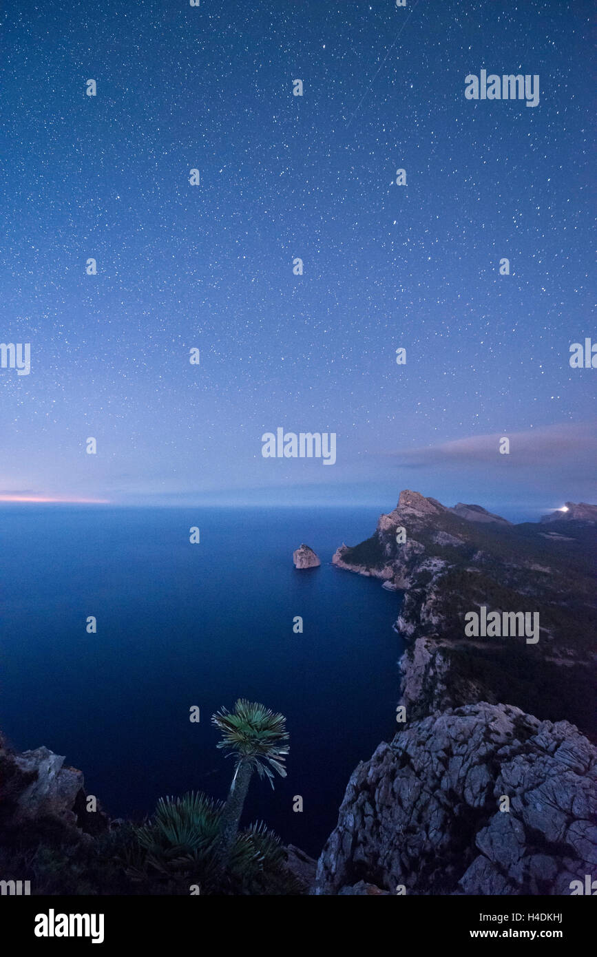 Night photography on form goal, Majorca, Spain - Stock Image