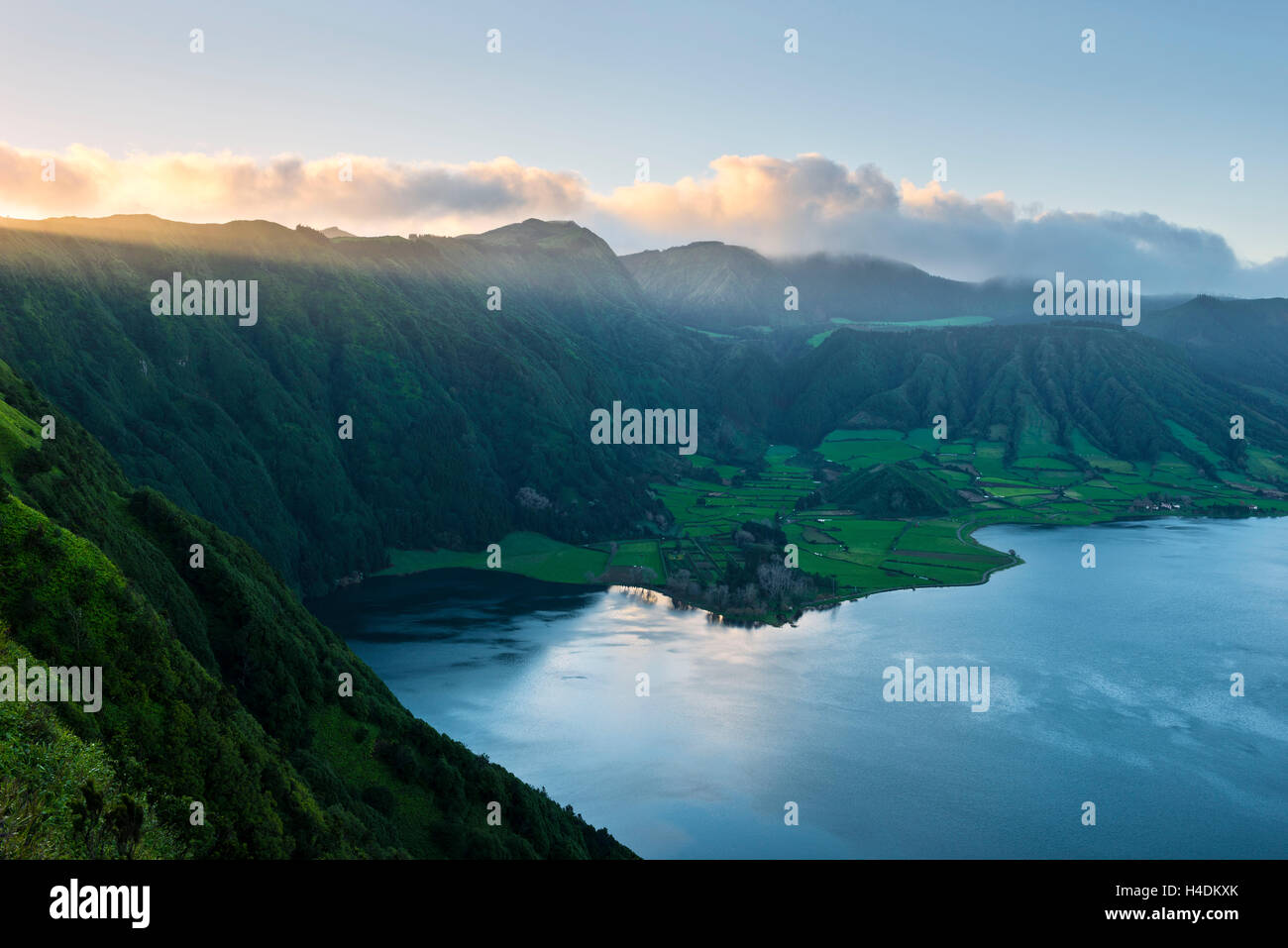 Crater lake Lagoa Azul on Sao Miguel, the Azores, Portugal - Stock Image