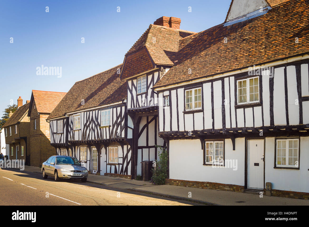 Old half-timbered cottages in Elstow village Bedfordshire UK - Stock Image