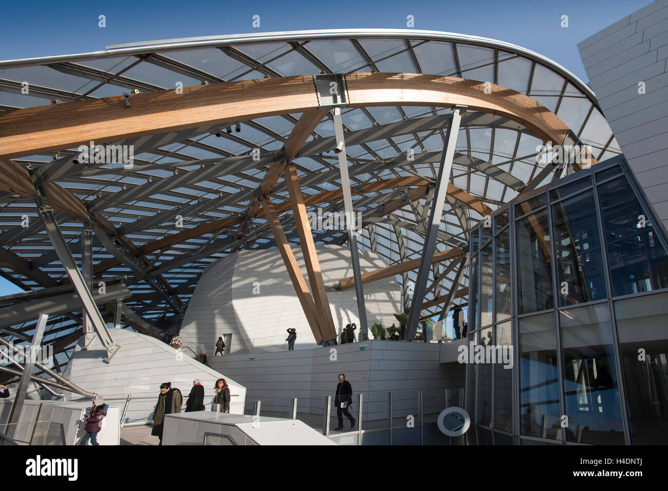 Scenic view of Louis Vuitton Foundation Art Museum Paris France Stock Photo