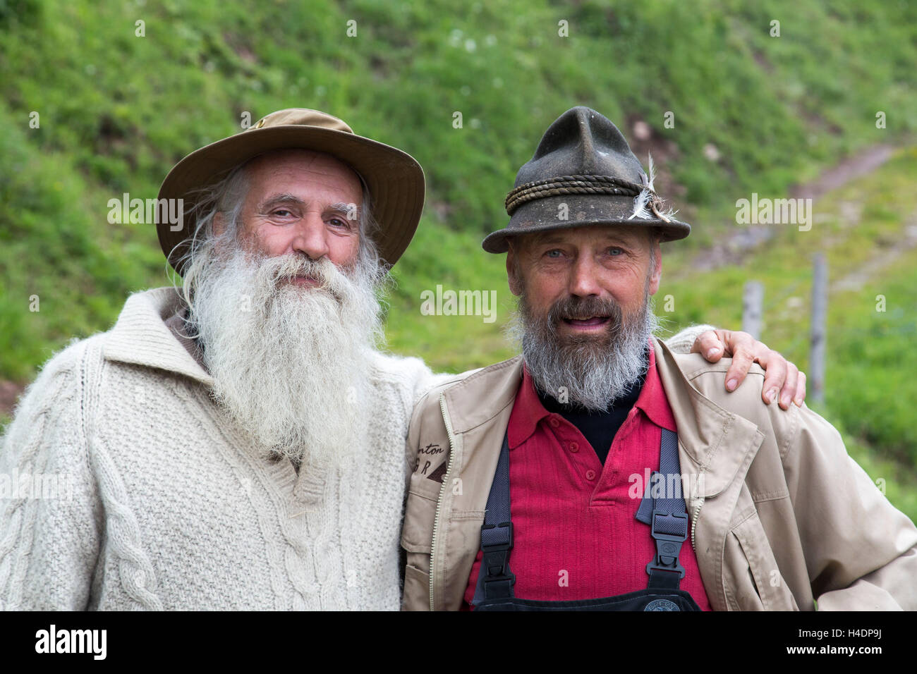 Two older men with beard and care, portrait, - Stock Image