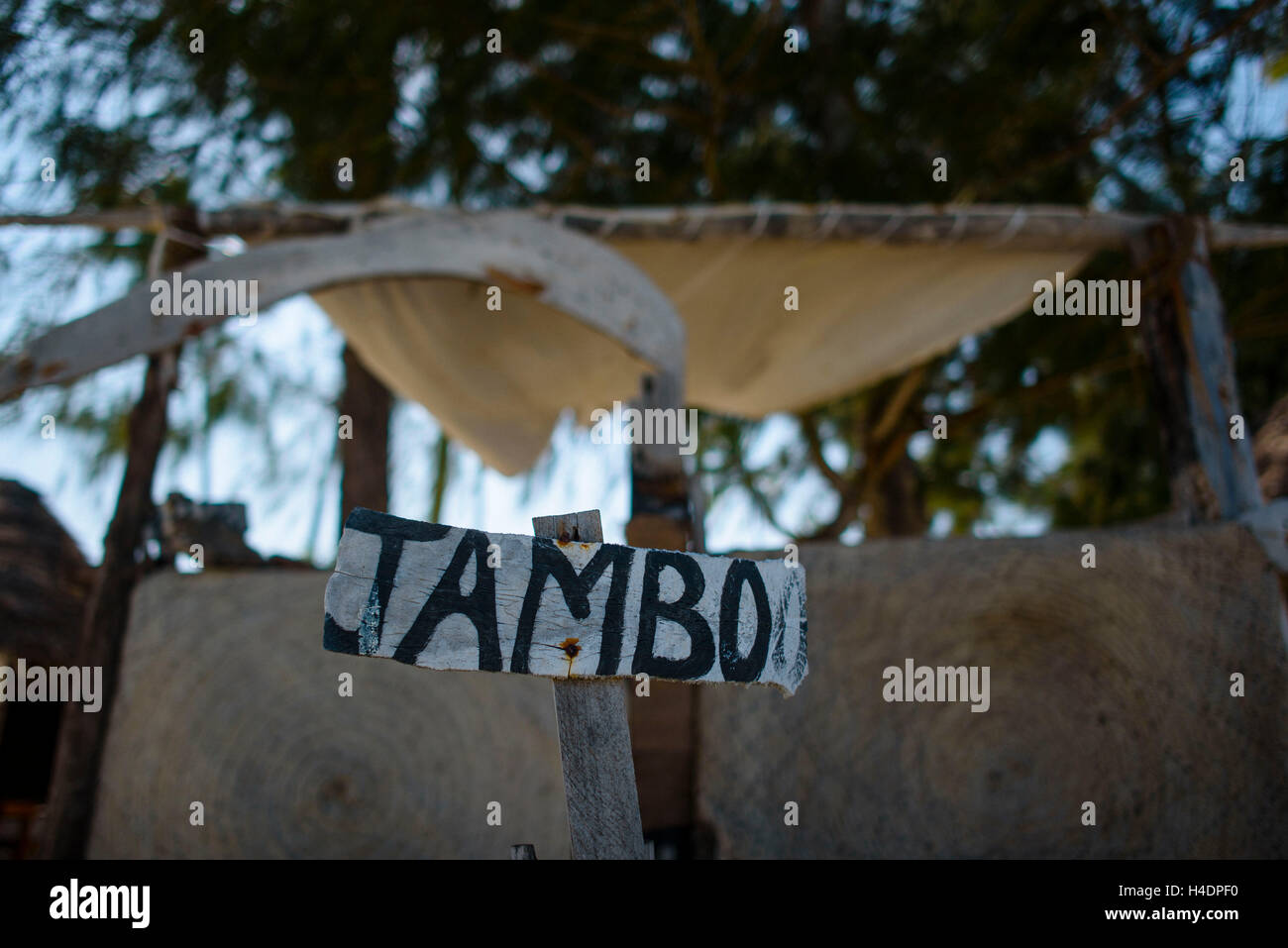 Jambo is of a word in the Swahili language and means, Hello - Stock Image