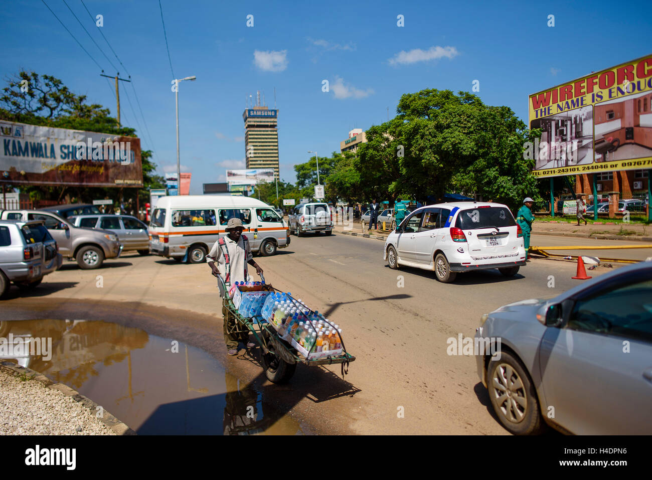 In the streets Lusaka, the capital Zambias Stock Photo