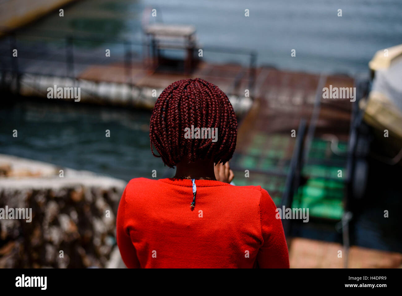An African woman with creative hairstyle - Stock Image