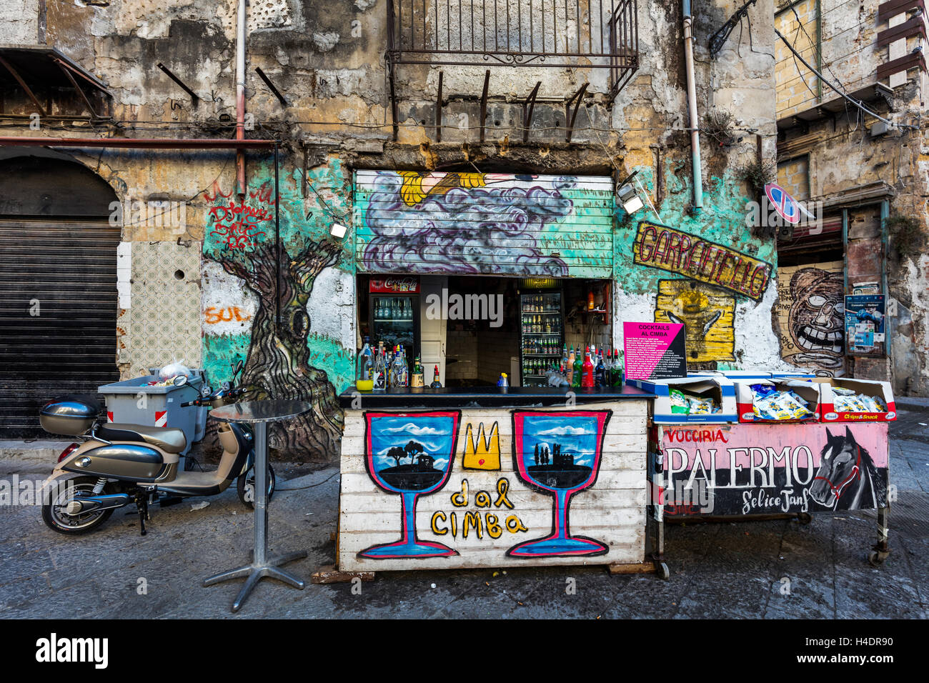 Street Bar In The Graffiti Covered Neighborhood Of Palermo Sicily