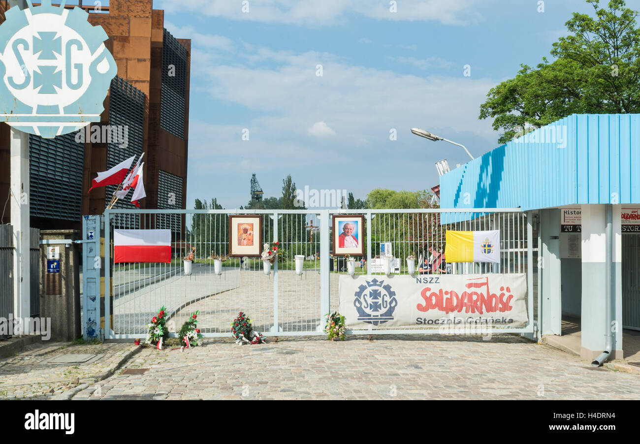 Gdansk shipyard gate 2.  Reconstruction of the historic gate 2 - entrance to the Gdansk Shipyard and European solidarity - Stock Image