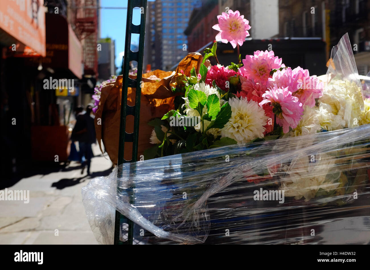 Fresh Flowers For Sale On The Sidewalk At Flower District Stock