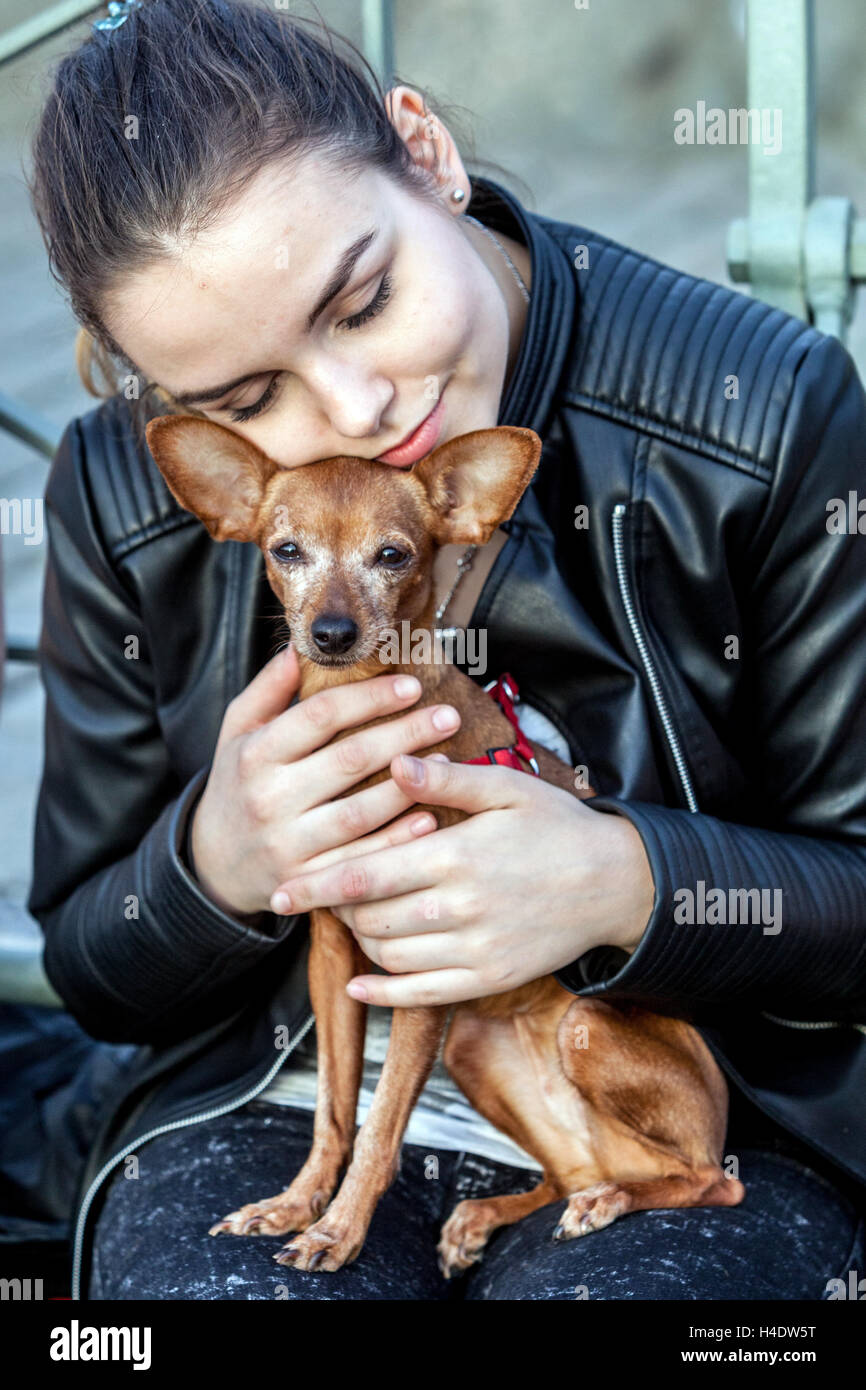 Young girl with her beloved dog, Prague ratter, Czech Republic Stock Photo