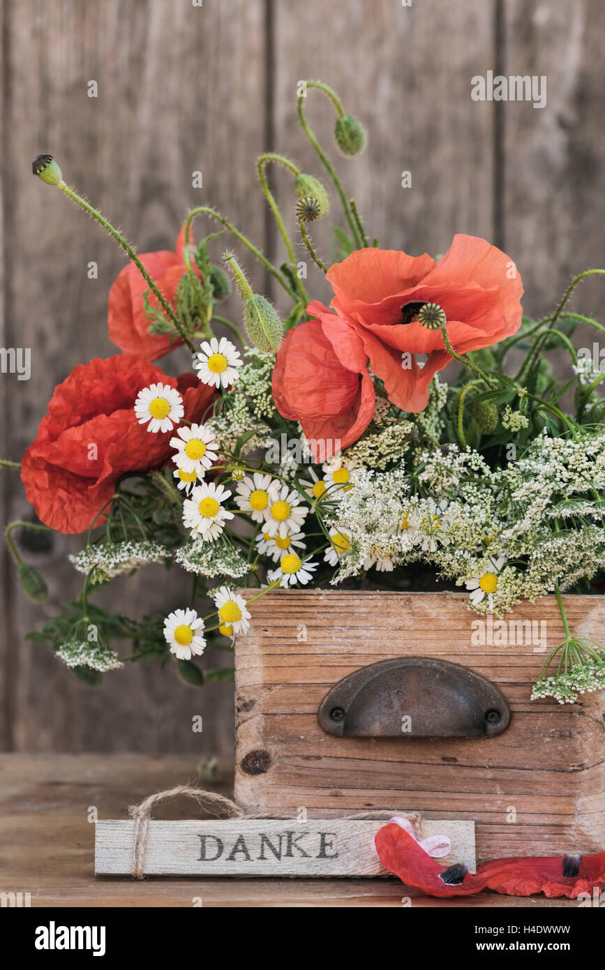 Flower arrangement made of poppy blossoms, camomile and other field flowers in an old wooden box with grasp, sign Stock Photo
