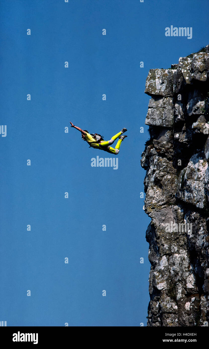 Russell Powell BASE 230 BASE Jumping Cheddar Gorge Avon England Great Britain Doug Blane Extreme Xtreme Sports Photography - Stock Image