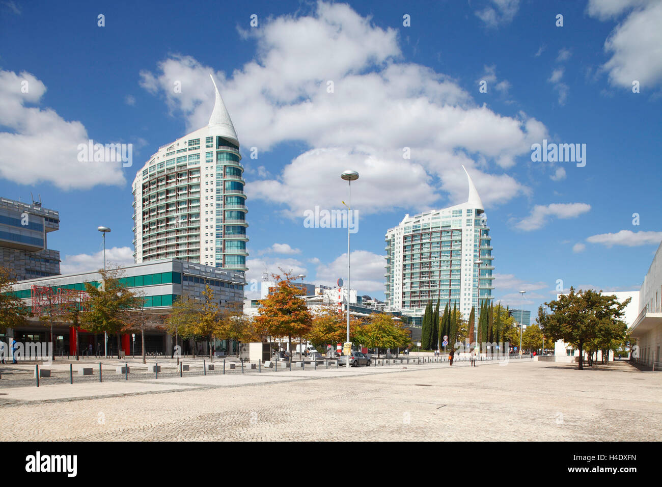 Modern architecture, Parque the Naçoes, park the nations, Lisbon, Portugal Stock Photo