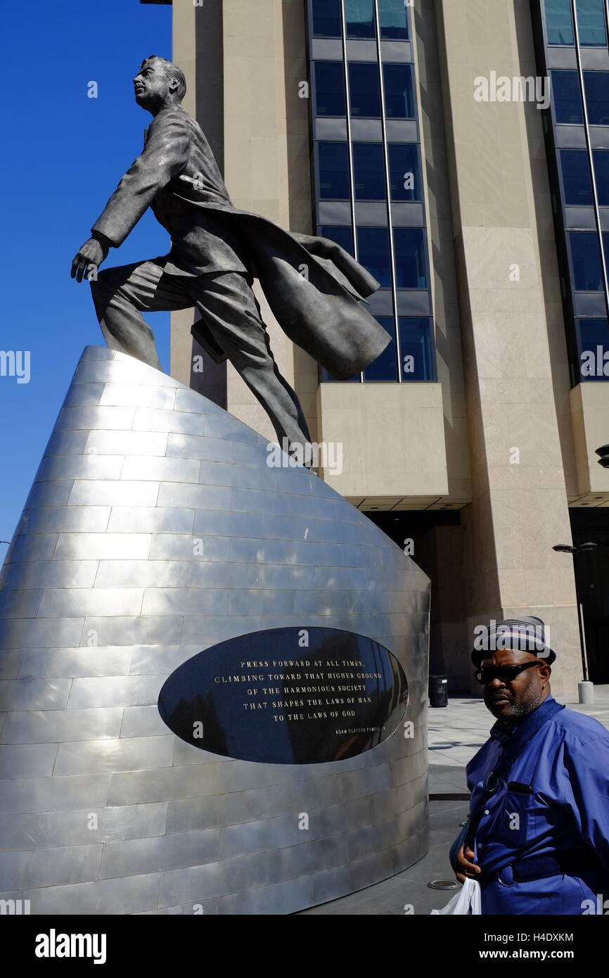Adam Clayton Powell Jr.'s statue 'Higher Ground' in 125th Street,Harlem,New York City,USA - Stock Image