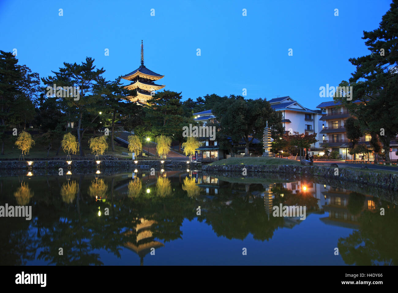 Japan, Nara, Kofukuji Temple, UNESCO World Heritage, view Pagoda Kofukuji Temple from Sarusawa Pond - Stock Image