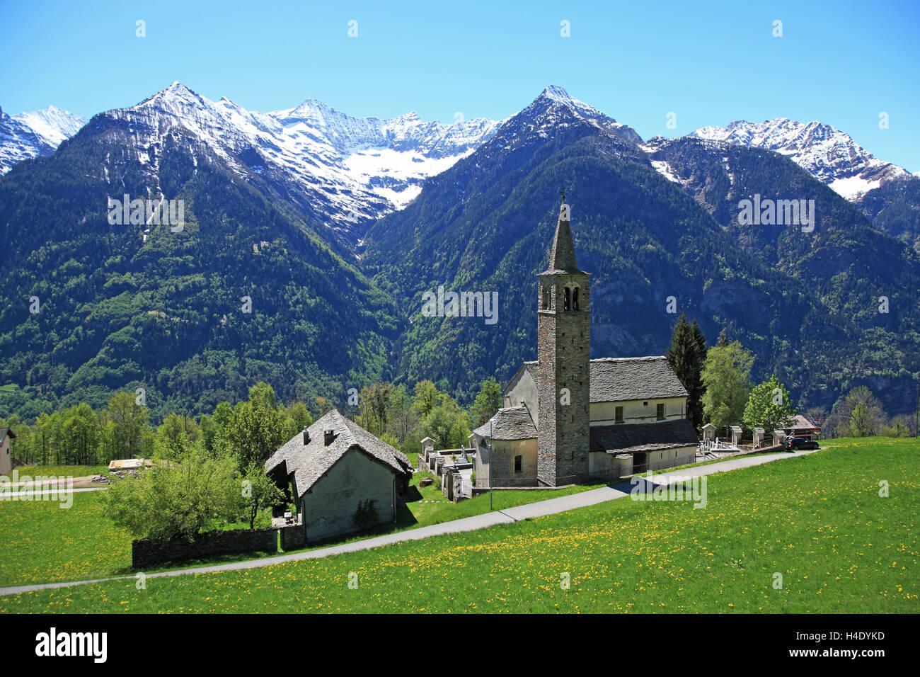 Switzerland, Canton Ticino, Leventina Valley, Sobrio Stock Photo