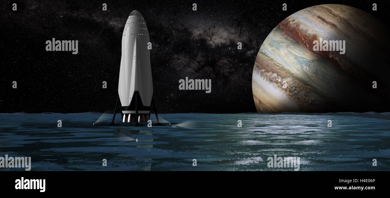 Artists concept illustration of the SpaceX Interplanetary Transport System on Europa looking toward Jupiter. The - Stock Image