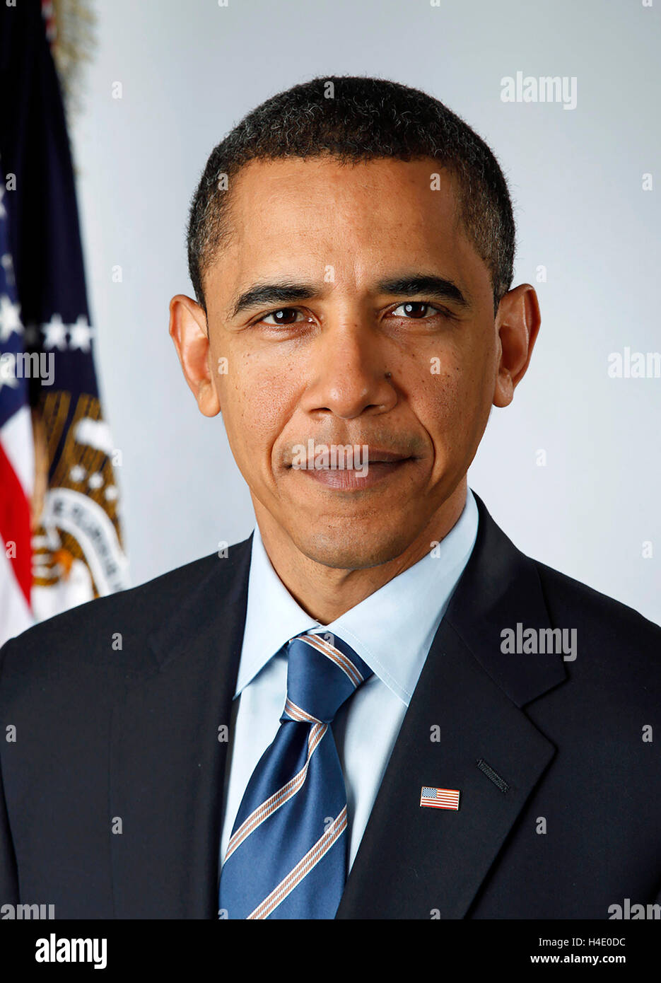 Barack Obama. Official portrait of Barack Obama (b.1961), the 4th President of the USA, taken on January 13th 2009, - Stock Image