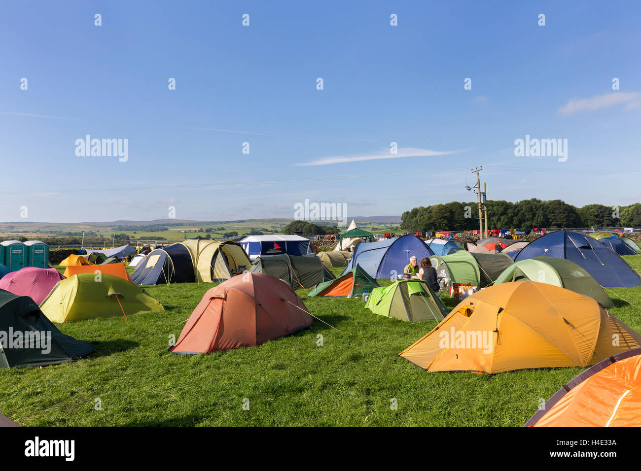 Tents on campsite, Yorkshire Dales, UK - Stock Image