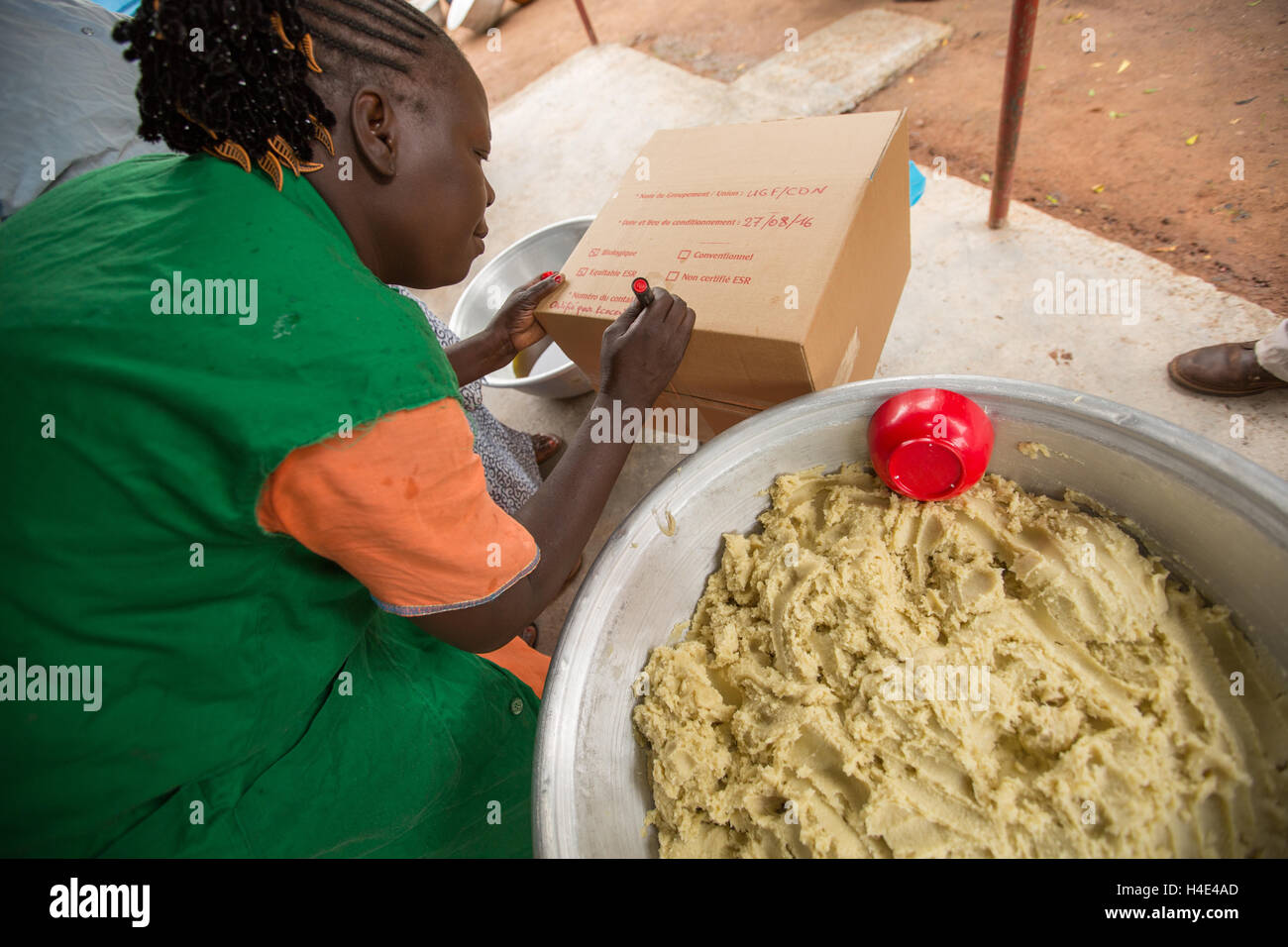 Shea butter is made at a fair trade production facilitity in Réo, Burkina Faso, West Africa. Stock Photo
