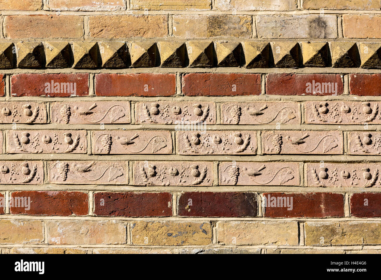 Detail in bricks built into house at Newtown Harbour NNR, Isle of Wight, UK - Stock Image