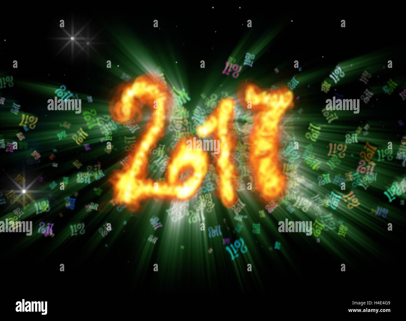 Happy new year 2017 isolated numbers written with fire on bright