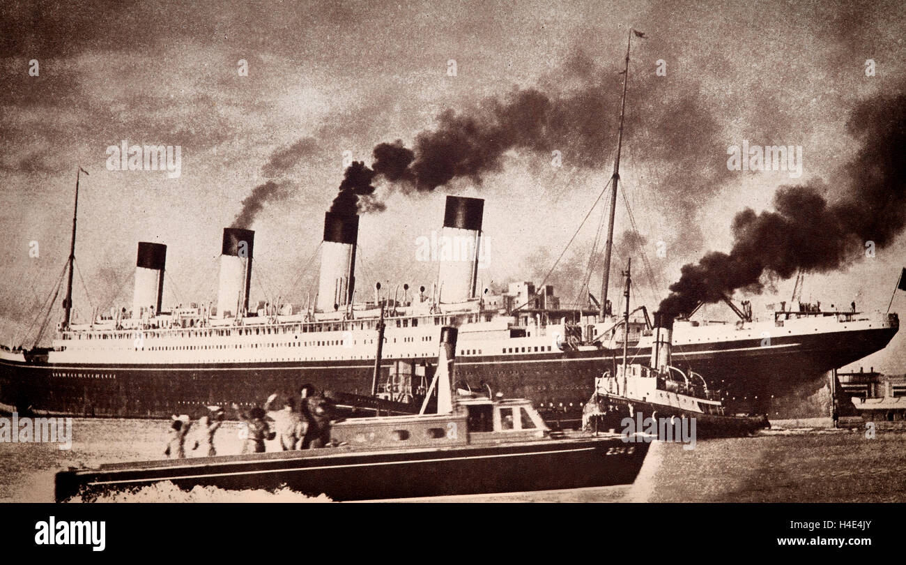 The launch of RMS Olympic, an transatlantic ocean liner on 20th October 1910. It was the lead ship of the White Stock Photo