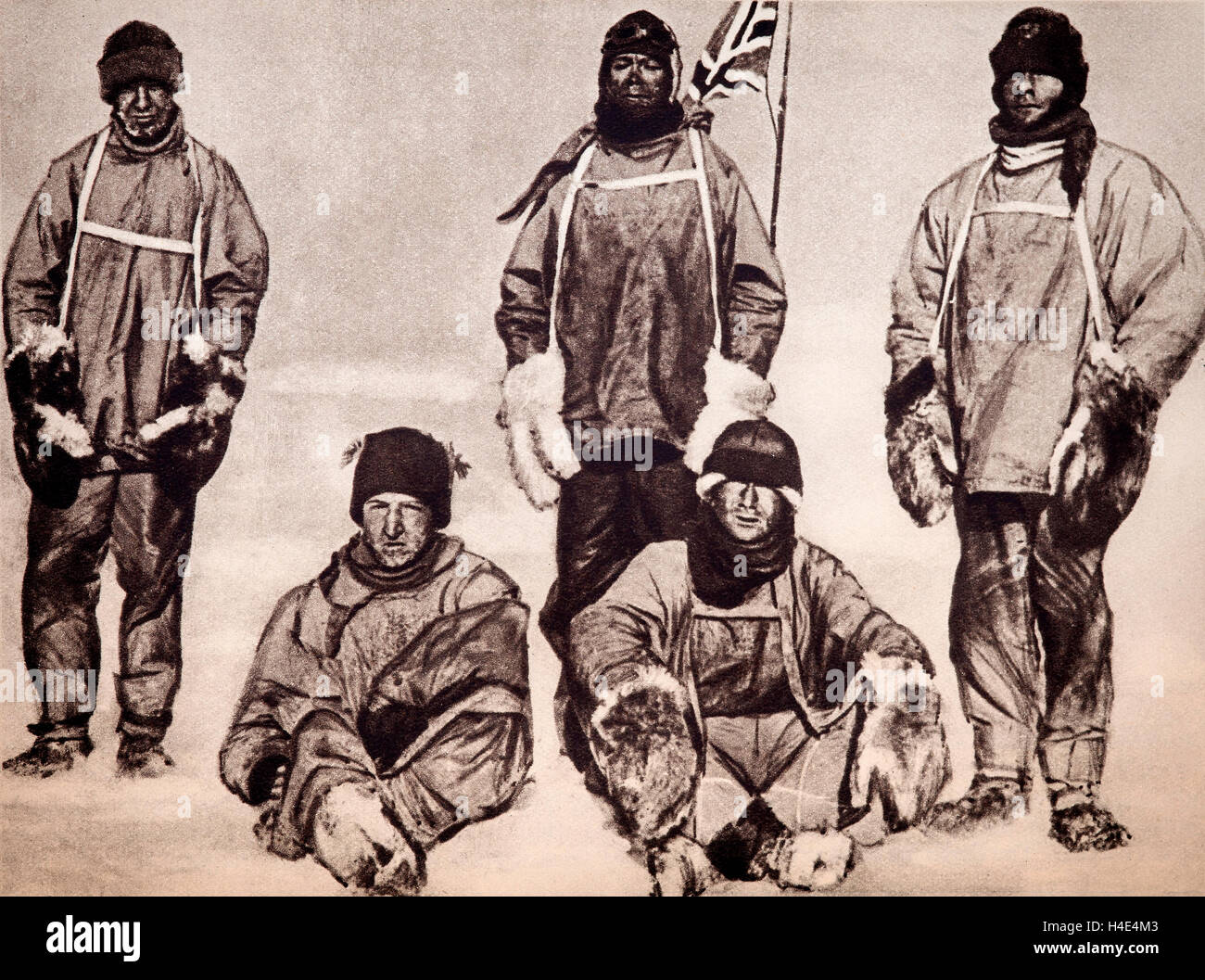 The ill-fated members of the Scott Expedition at the South Pole on 18th January 1912. L to R: (standing) Wilson, - Stock Image
