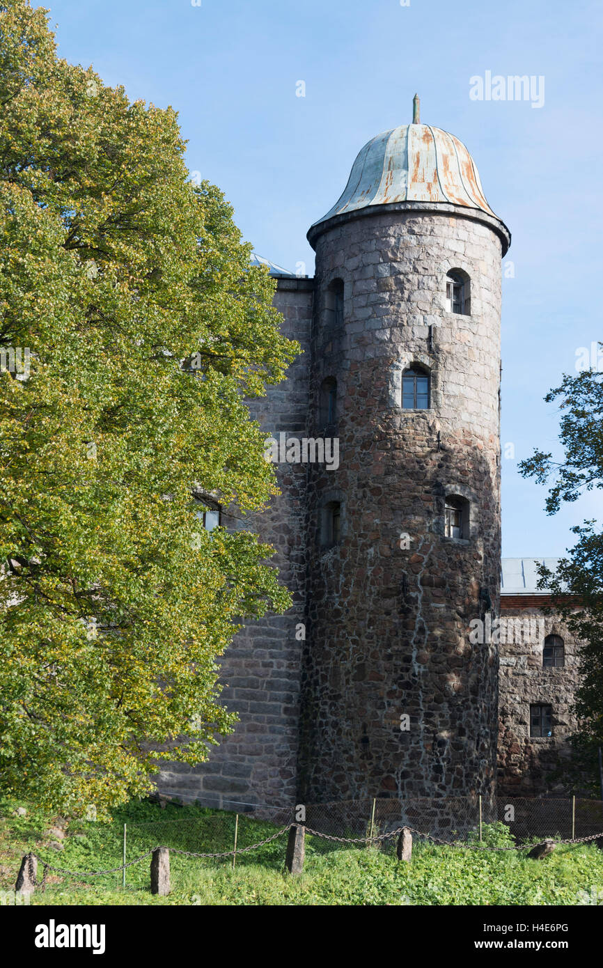 Stone tower of  Vyborg Castle - Stock Image