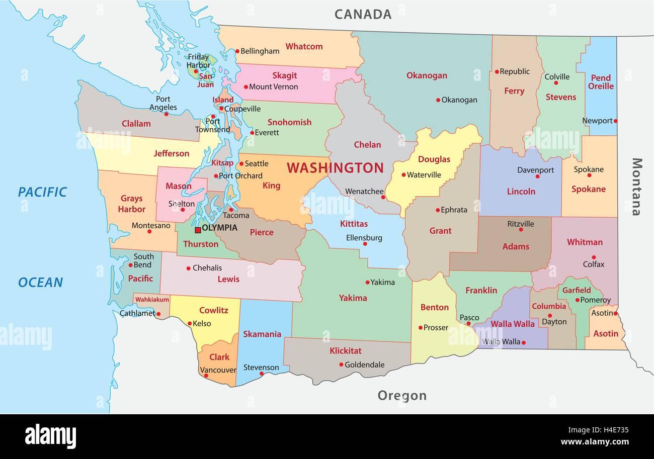 Washington Map Stock Photos Washington Map Stock Images Alamy