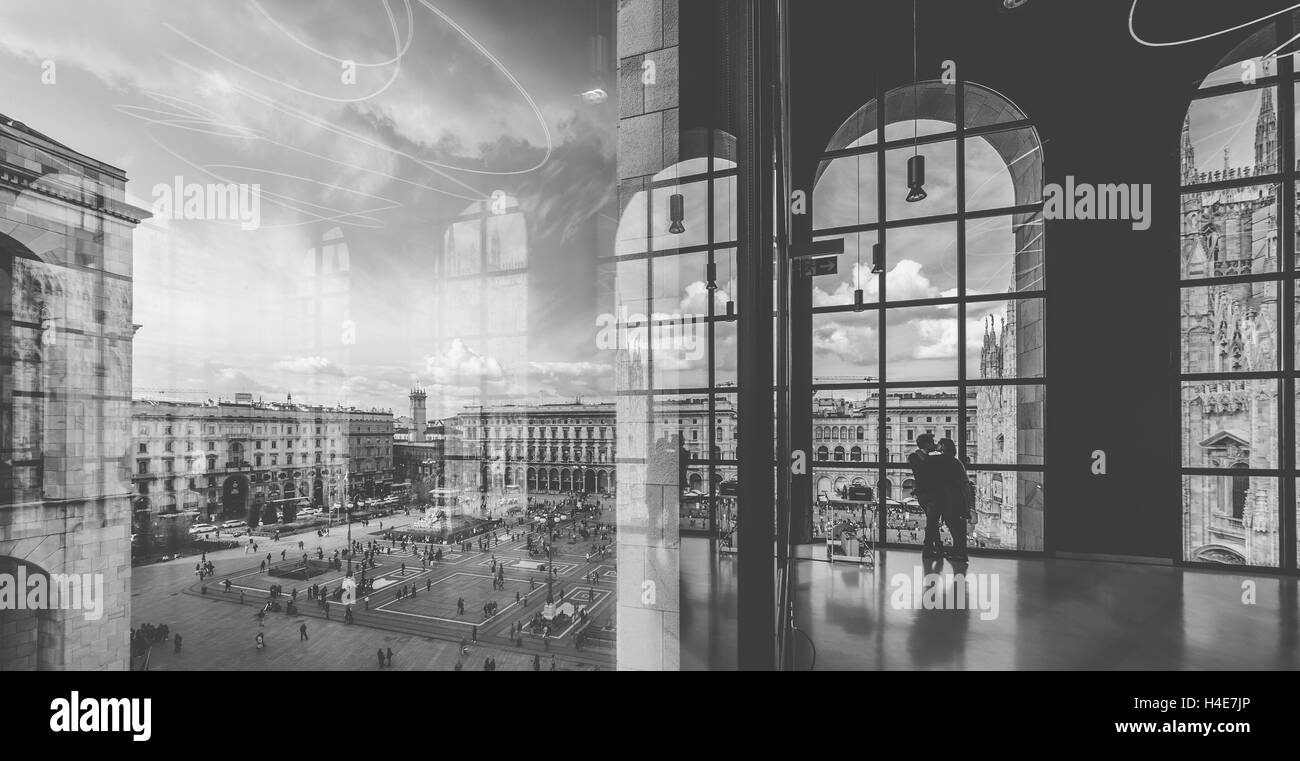The view from Museo del Novecento. In the background Piazza del Duomo. Milano, Italia - Stock Image