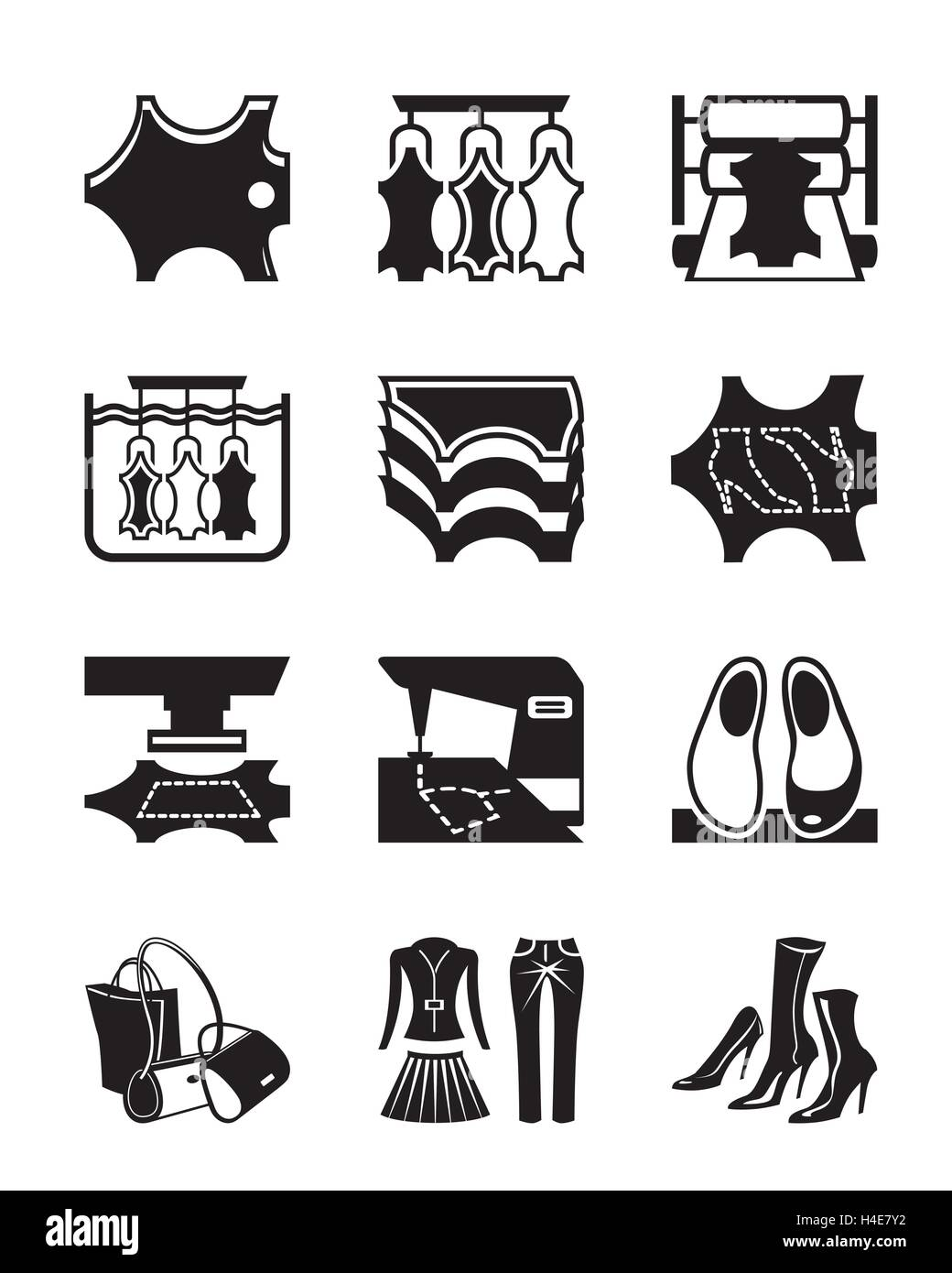 Production of leather clothes and shoes - vector illustration - Stock Image