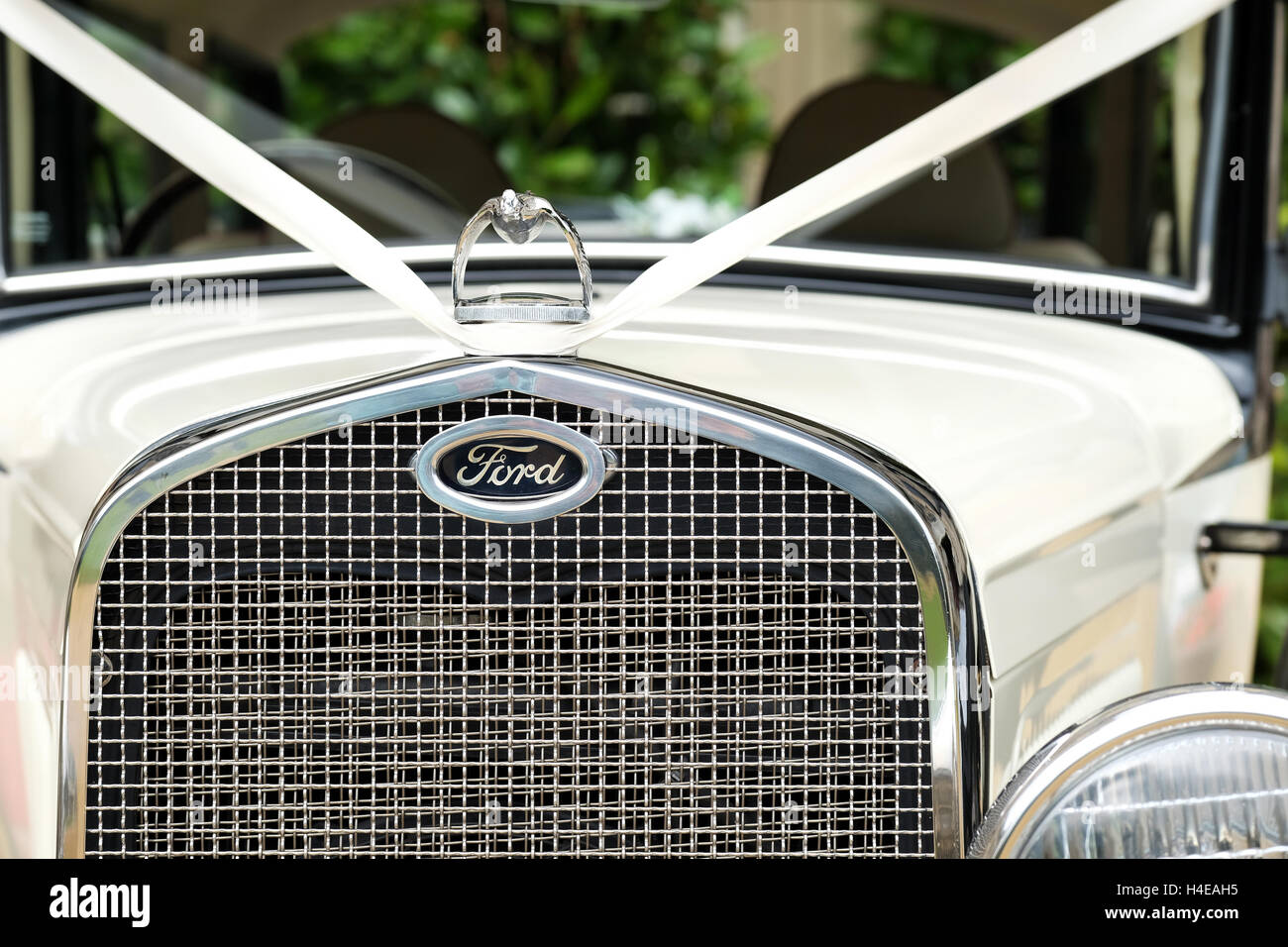 The front grill of a classic old ford car clearly showing the ford motor vehicle badge - Stock Image