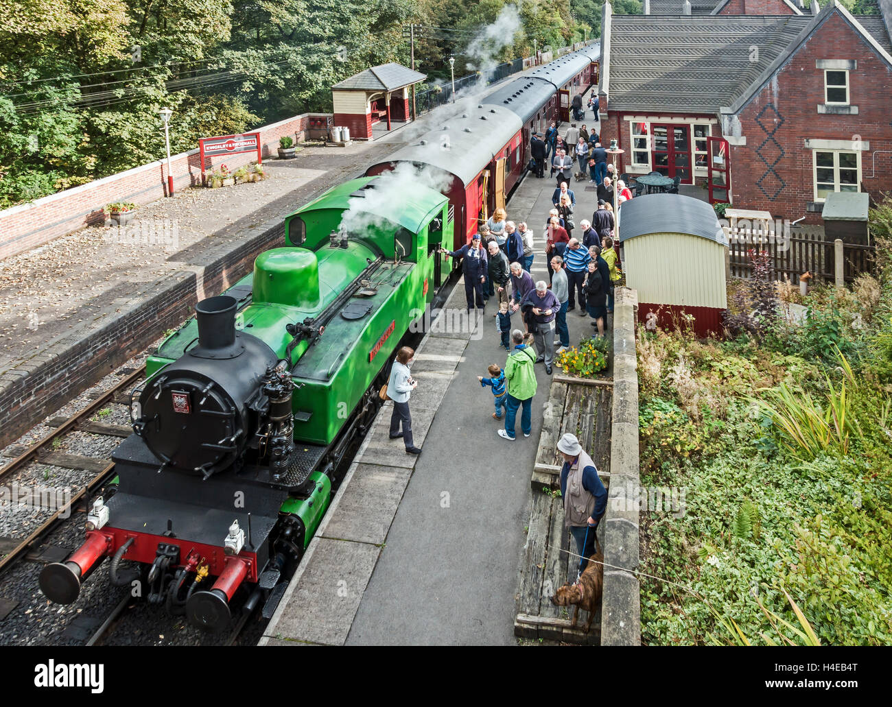 Train at Kingsley & Froghall railwaly station at the Churnet Valley Railway in Staffordshire England - Stock Image