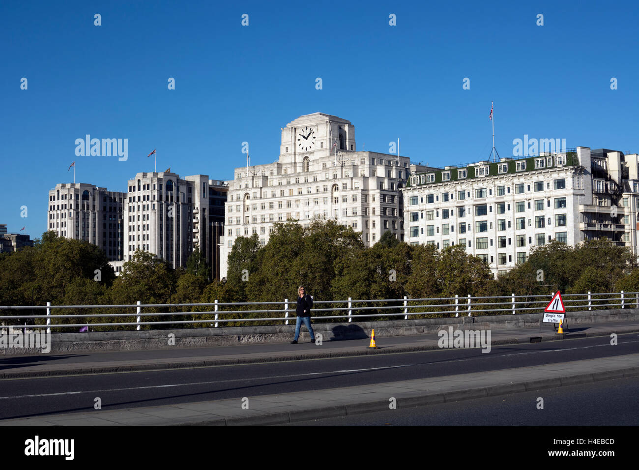 View towards Shell-Mex House from Waterloo Bridge, London, UK Stock Photo