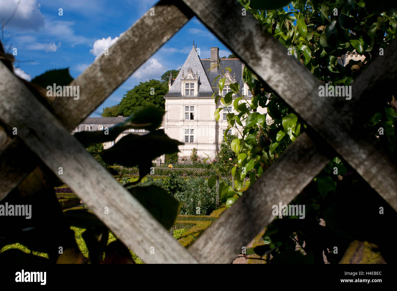 The castle and the gardens of Villandry, Loire Valley, France. The beautiful castle and gardens at Villandry, UNESCO - Stock Image