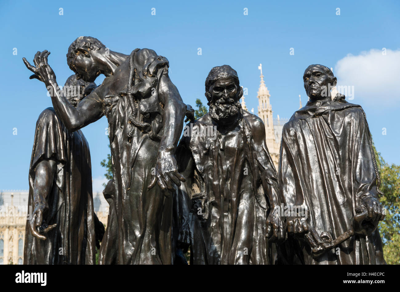 The Burghers of Calais sculpture by Rodin in Victoria Tower Gardens, London - Stock Image